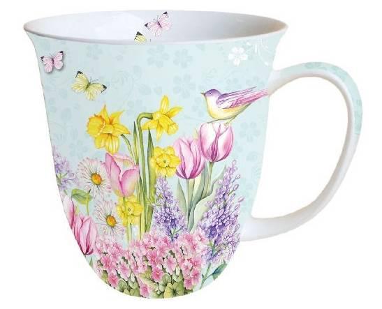 AMBIENTE 18412685 Blooming Garden Turquoise porcelánbögre 0,4L