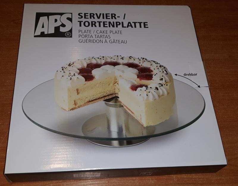 APS üveg forgó tortatál rozsdamentes talppal, 30 cm, 438221