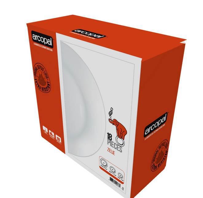 Arcopal Zelie 18 részes fehér, üveg étkészlet