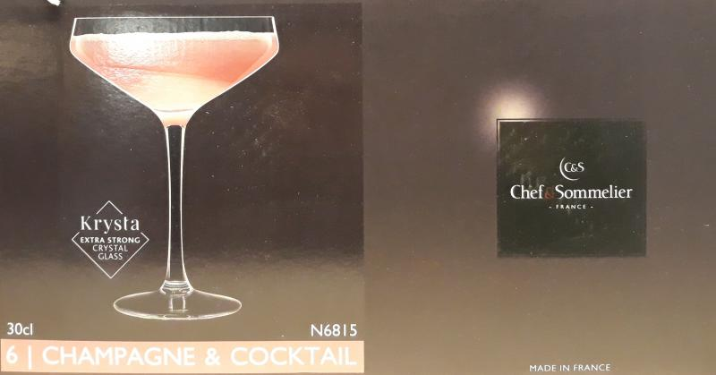Arcoroc Chef&Sommelier; Champagne & Coctail kehely, 30 cl, 6 db,