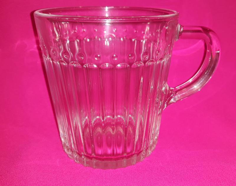Átlátszó üveg bögre Ribbed mug füles, trans, 250 ml, 1 db