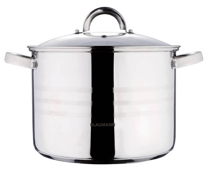 Blaumann Gourmet Line rozsdamentes fazék+üvegfedő, 15,5 liter, indukciós, BL-1013, 345055