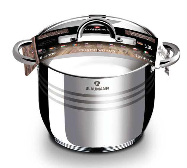Blaumann Gourmet Line rozsdamentes fazék+üvegfedő, 22cmx15,5cm, 5,8 liter, indukciós, BL-1009