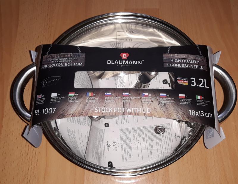 Blaumann Gourmet Line rozsdamentes fazék+üvegtető, 18x13 cm, 3,2 liter, BL-1007