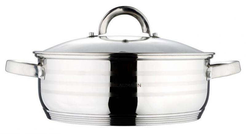 Blaumann Gourmet Line rozsdamentes lábos+üvegfedő, 22 cm, 2,75 liter, BL-1002