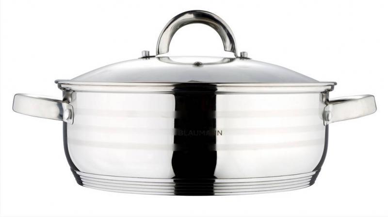 Blaumann Gourmet Line rozsdamentes lábos+üvegfedő, 28cm, 7 liter, indukciós, BL-1504
