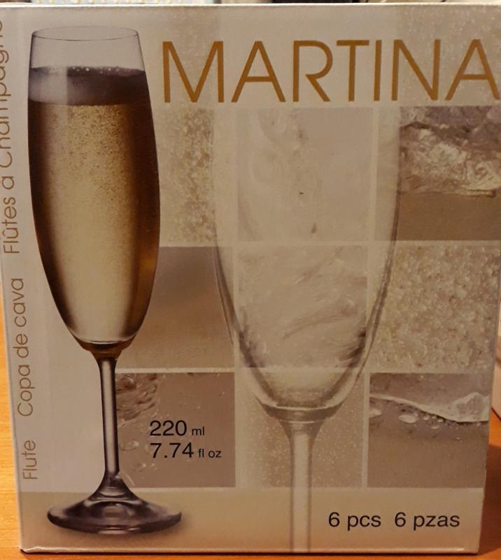 BOHEMIA MARTINA pezsgős kristálypohár, 22 cl, 6 db, 416033