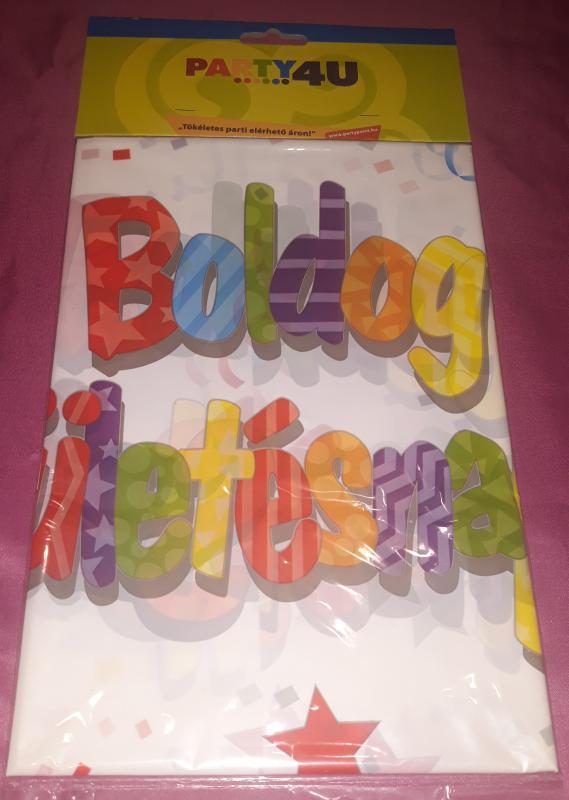 Boldog születésnapot (csillagos, konfettis) asztalterítő, 130X180 cm,