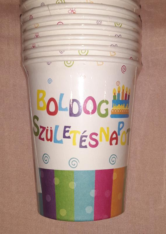 Boldog születésnapot feliratos papírpohár, 200 ml, 6 db,