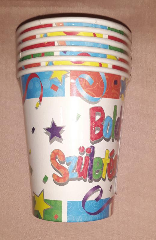 Boldog születésnapot feliratos papírpohár, 200 ml, 6 db