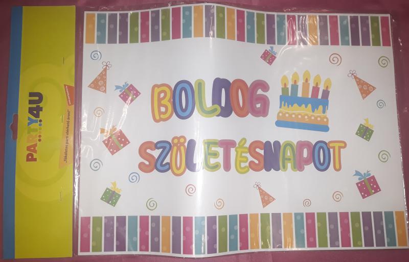 Boldog születésnapot papír alátét, 38X28 cm, 8 db,