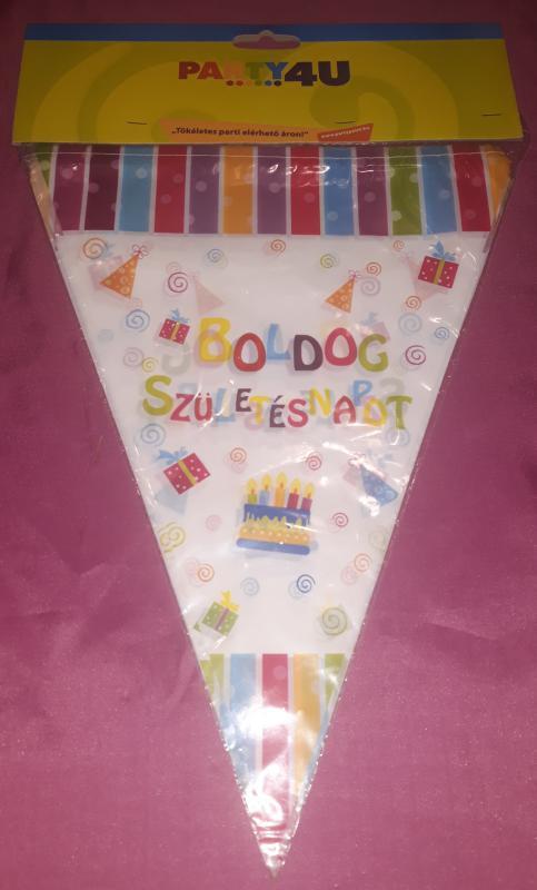 Boldog születésnapot parti zászló 11 zászlóval, 3,6 m