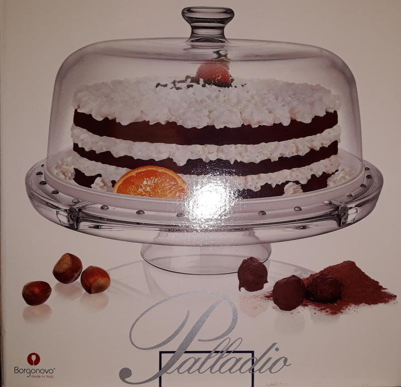 Borgonovo Palladio talpas üveg tortatál+búra 27,5x30,5 cm, 248002