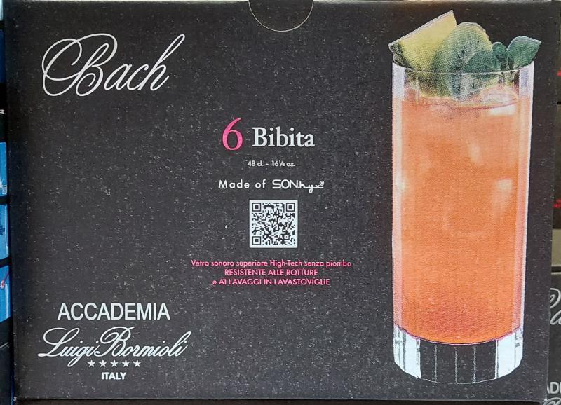 Bormioli Bach 48cl kristály üdítős pohár, Bibita, 6db