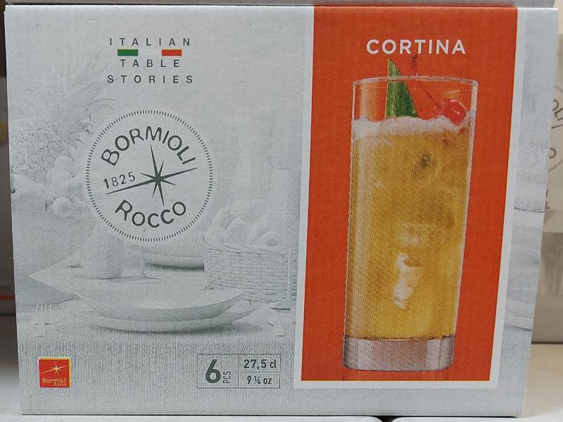Bormioli Cortina üdítős pohár, 27,5cl, átlátszó üveg, 6db