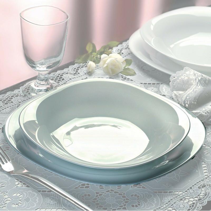 BORMIOLI ROCCO PARMA étkészlet, 18 részes, fehér, négyzetes, 202018