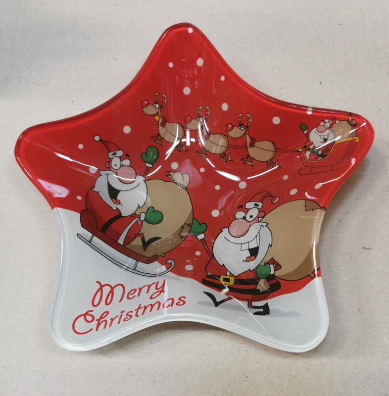 Cerve csillag formájú karácsonyi üveg kínálótál, 20X20X3,5 cm, 165053