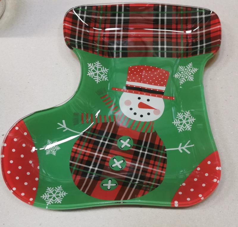 Cerve csizma alakú karácsonyi üveg kínálótál, 22X21 cm, 165081