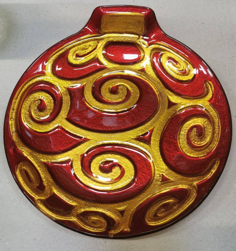 Cerve karácsonyi díszgömbot formázó üveg kínálótál (arany), 26X23 cm, 165057