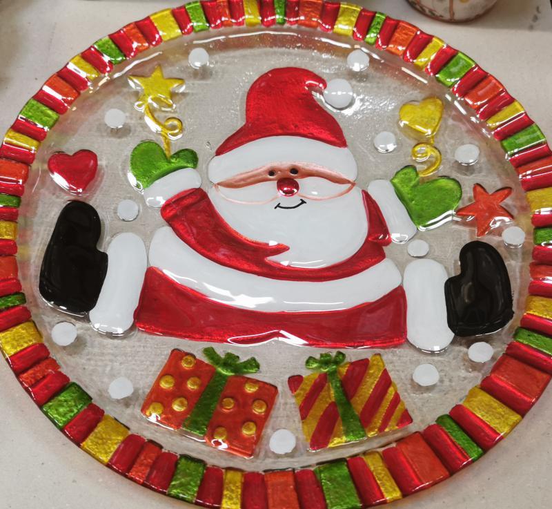 Cerve karácsonyi kerek télapós üvegtál, 35X35 cm, 165058