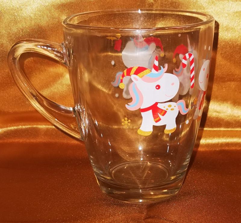 Cerve karácsonyi üveg bögre, unikornis-egyszarvú mintás, Xmas unicorn, 31 cl, 165312