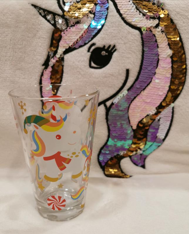 Cerve Nadia Xmas unicorn (karácsonyi unikornisos) üdítős pohár, 31 cl,  165311