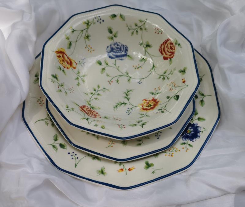 Churchill Multi Rose Chintz 19 részes kerámia étkészlet, szögletes