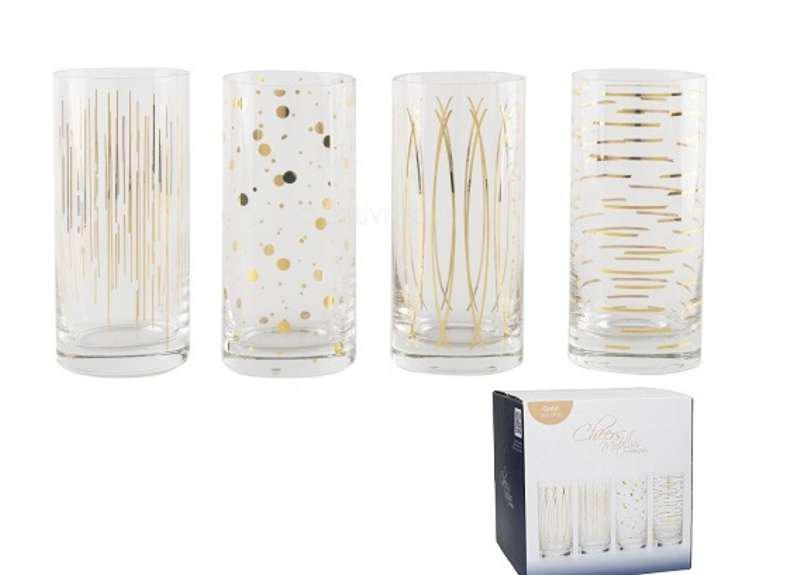 Creative Tops 5140628 Kristályüveg üdítős pohár 4db-os,450ml,fényes ARANY mintás,Cheers, Mikasa