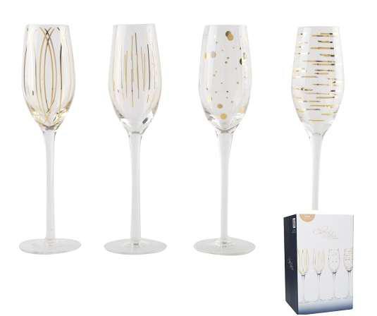 Creative Tops 5140630 Kristályüveg pezsgőspohár 4db-os, 210ml, fényes arany mintás, Cheers, Mikasa