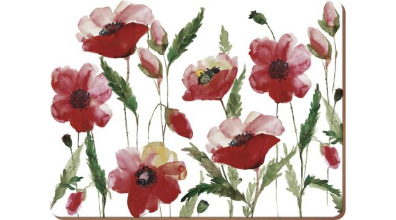 Creative Tops 5176715 parafa tányéralátét 4db-os 40x29cm,Watercolour Poppy