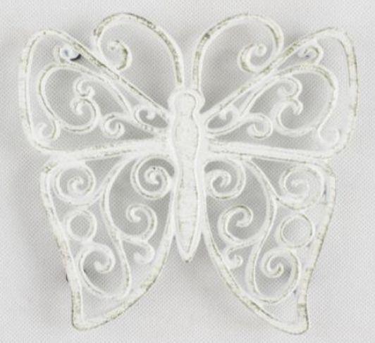 Dakls LS103B Öntöttvas edényalátét pillangó 18x19cm, antik fehér