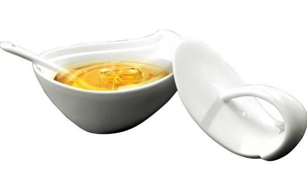 Deagourmet NINFEA porcelán cukor/méztartó+fedő+kanál, 295017