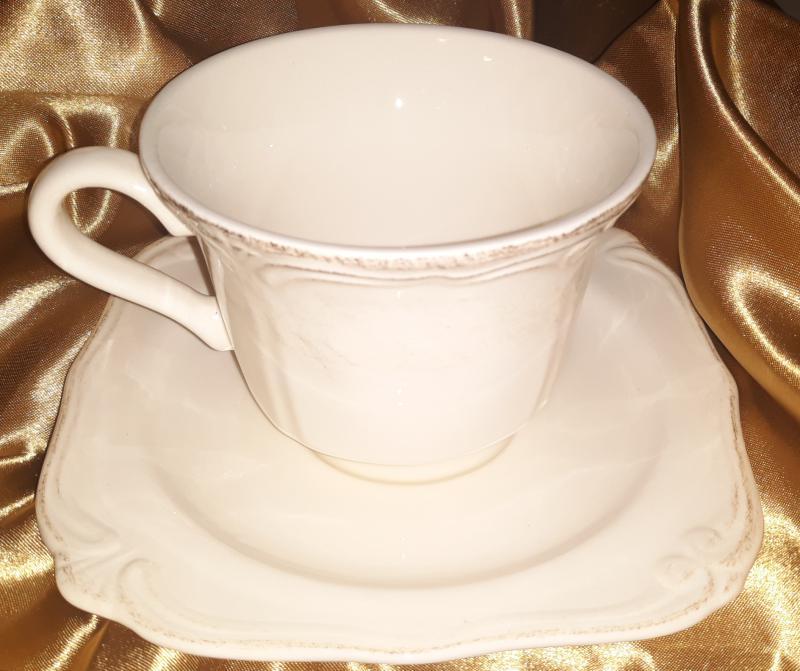 Dekor Pap Antikolt natúr kerámia csésze+alj, 250 ml, D.P.80120