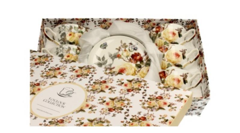 D.G.20007 Porceláncsésze+alj 6 személyes, 200ml, dobozban, Zahra