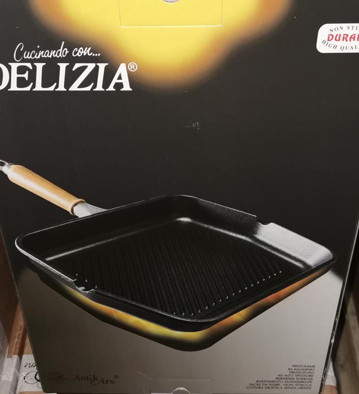 Durall Delizia teflon öntvény grill cserélhető nyéllel, 30x40 cm