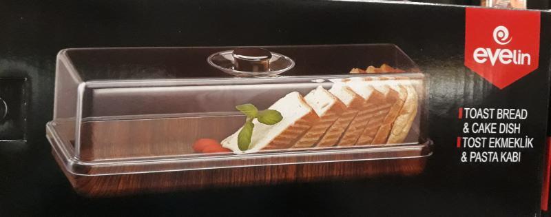 Evelin plastic szeletelt kenyér tároló, szögletes, 16X39X13 cm, 287017