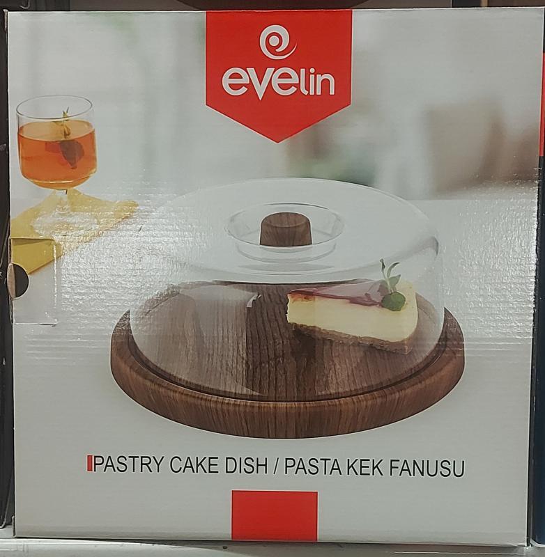 Evelin plastic tortatál+búra, kerek, 30,5X10,5 cm, 287016