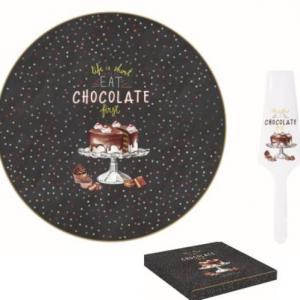 R2S 1112HOCH Chocolate porcelán tortatál 32 cm+lapát (pöttyös), 153285,