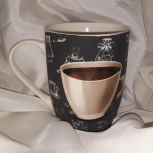 Veroni 17871 Matt fekete porcelánbögre 350 ml, Classico, 1db