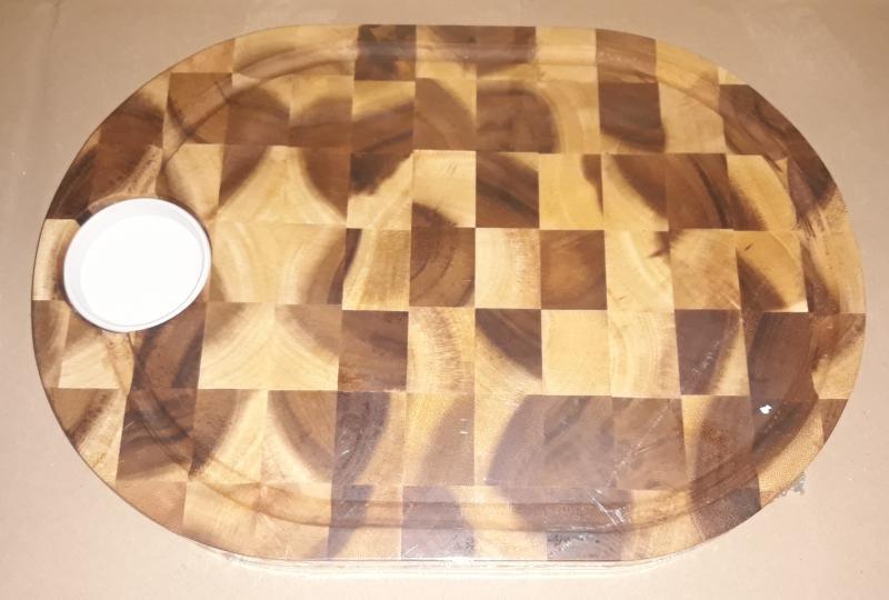 Fa vágódeszka/szervírozódeszka+porcelán tálka, kockás, 28X40X3,5 cm, 210092