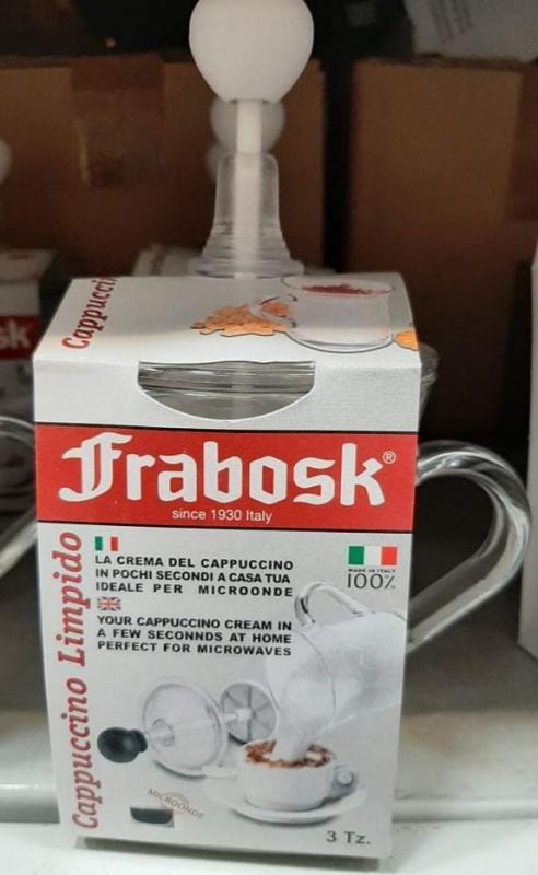 Frabosk Limpido 3 személyes cappuccino tejhabosító, üveg