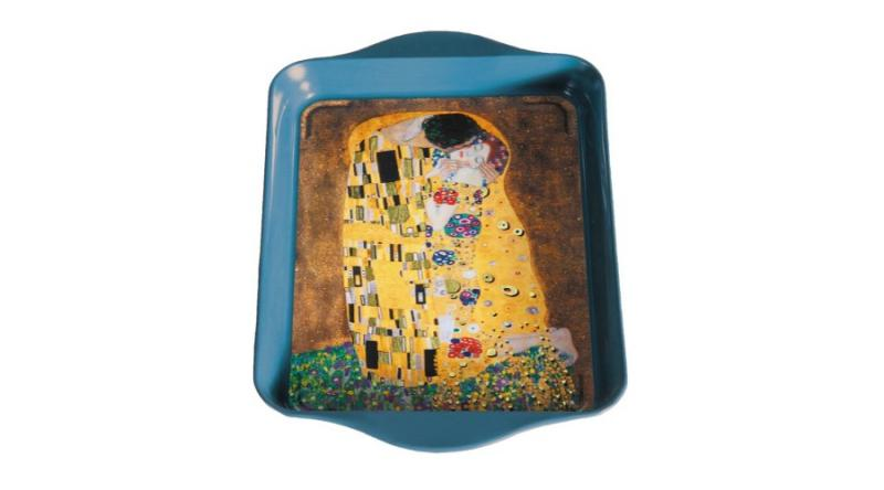 FRIDOLIN 19486 Fémtálca 21x2x14cm,Klimt:The Kiss