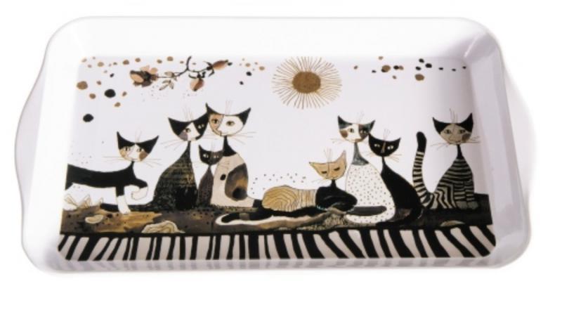 FRIDOLIN 19492 Fémtálca 32x2x19cm,Rosina Wachtmeister:Cats Sepia