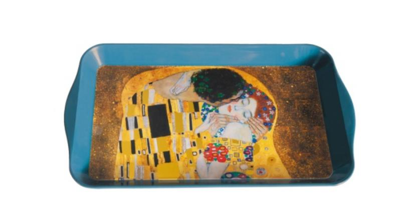 FRIDOLIN 19496 Fémtálca 32x2x19cm,Klimt:The kiss
