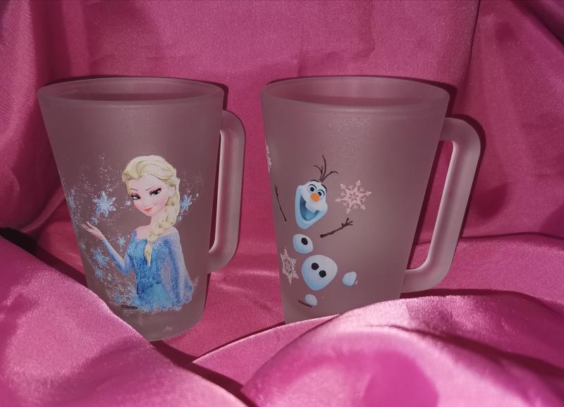 Frozen (Jégvarázs) füles bögre szett, 2 db, fehér satin, 27 cl, Elza és Olaf
