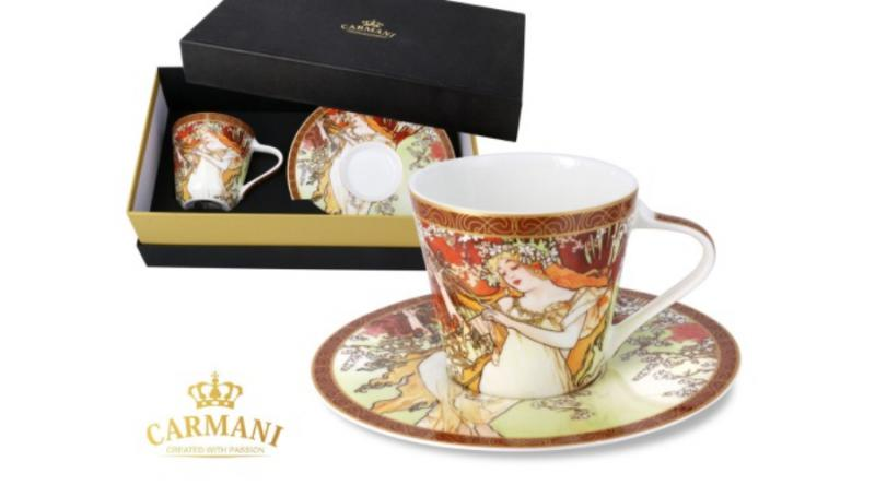 Hanipol Carmani 539-5001 Porcelán csésze + alj, 225ml, 1db, Mucha: Tavasz