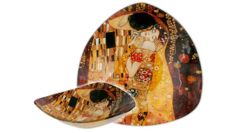 H.C.198-1131 Üvegtányér háromszögű 17x17cm,Klimt:The Kiss