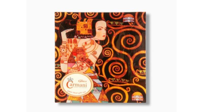 H.C.198-1412 Üvegtányér 15x15cm Klimt:Várakozás