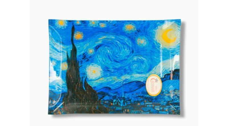 H.C.198-3002 Üvegtányér 20x28cm Van Gogh:Csillagos éj