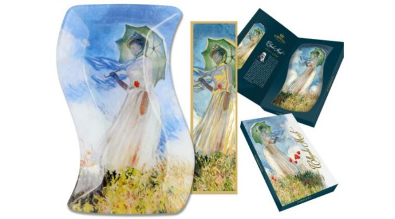 H.C.198-4102 Üvegtányér hullámos 15x23cm,+ papír könyvjelzővel,Monet:Nő esernyővel